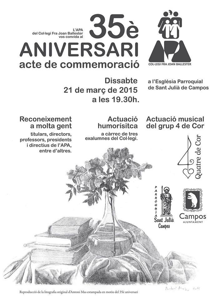 35è aniversari de l'AMPA del Col·legi Fra Joan Ballester