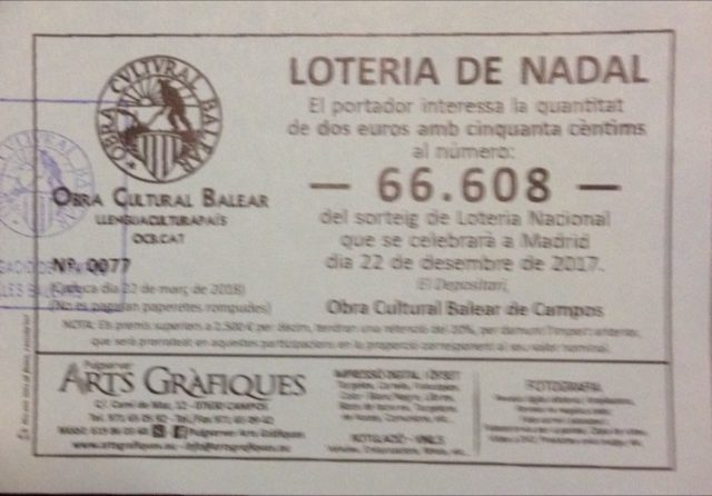 L'Obra Cultural Balear guanya el reintegrament a la loteria de Nadal