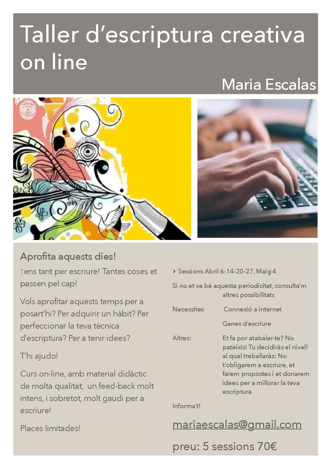 Maria Escalas imparteix un taller d'escriptura creativa